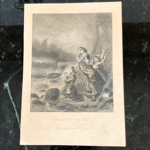 "Caught by the Tide 7.75"" x 5.5"" Antique Engraving"